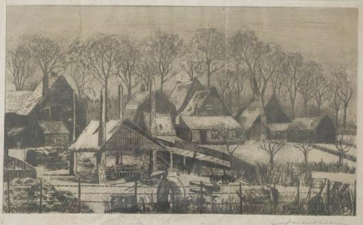 Ets van J.Waldkötter uit maart 1931. Boerderijen en huizen aan Cloosterweg Heemstede