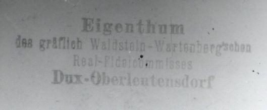 Eigendomsstempel van de graven van Waldstein