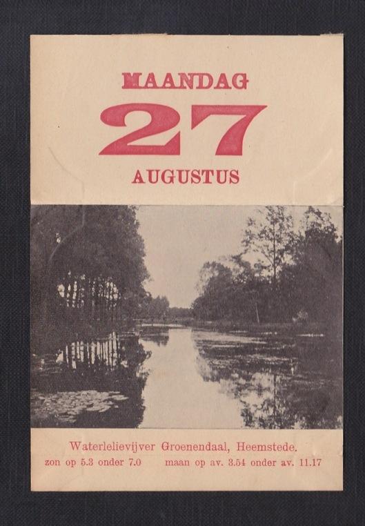Kalenderplaatje van waterlelievijver Groenendaal uit 1910