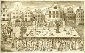 Prent met een voorstelling van executue der wederdopers Jan van Leiden, Berend Knechting en Berend Knipperdolling in 1536 op de markt van Münster. Hun lijken werden als afschrikwekkend voorbeeld in ijzeren kooien opgehangen aan de kerktoren.
