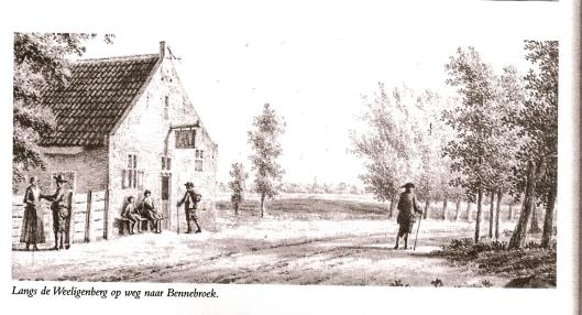 Tekening: langs de Weeligenberg (Hillegom) op weg naar Bennebroek