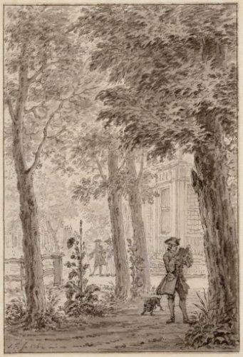 Weterduin. Een lezende heer op een tekening van Simon Fokke uit 1762 (Stadsarchief Haarlem)