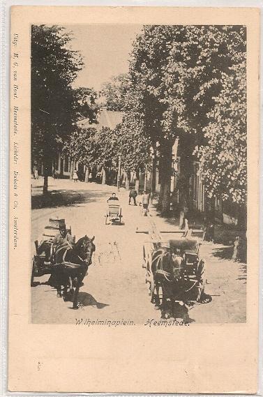 De Camplaan/Wilhelminaplein begin 1900 toen paard en wagen nog hert straatbeeld beheersten.