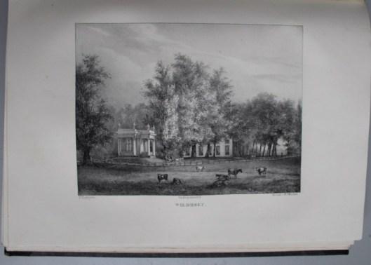 De hofstede Wildhoef, opnieuw aangelegd door architect J.D.Zocher. Omstreeks 1840 in eigendom van mr. J.P.A.van Wickevoort Crommelin