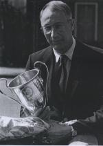 Zwentrainer Wim Geurtsen (ov. 2003) van HPC die mede als clubcoach de Nederlandse zwemploeg bij de Olympische Spelen van Los Angeles in 1984 begeleidde