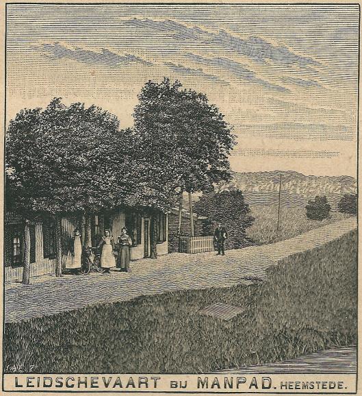Het Café aan de Leidsevaart op een houtsnede uit het Zondagsblad Oprechte Haarlemsche Courant van 26 april 1909
