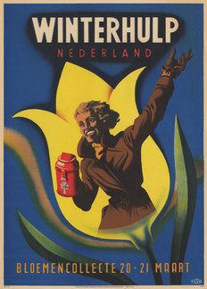 Affiche van Winterhulp, bloemencollecte 20-21 maart 1942