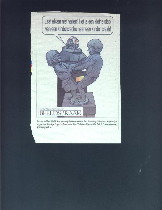 Cartoontekening door Eric Coolen van 'de Balans' in het Weekblad van Heemstede, 13-1-2010