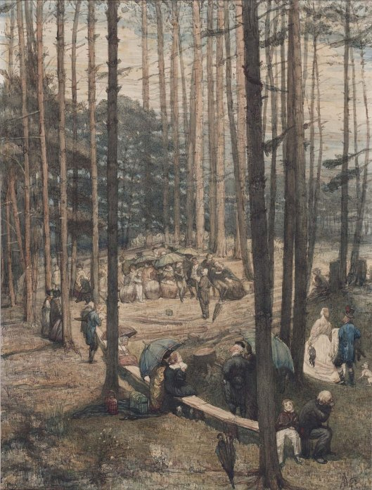Het zendingsfeest in Wolfheze was aanleiding bovenstaande aquarel in 1867 te vervaardigen door kunstenaar August Allebé (1837-1927)