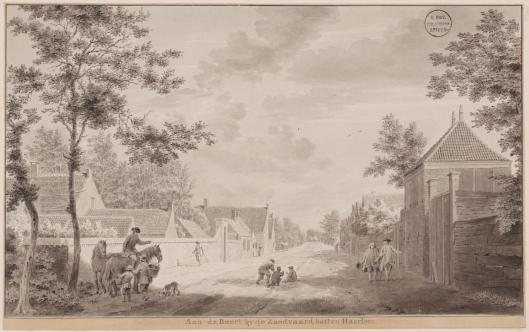 De weg van Haarlem naar Heemstede nabij de Zandvaart. Tekening door Cornelis van Noorde uit 1778 (Universiteitsbibliotheek Leiden)