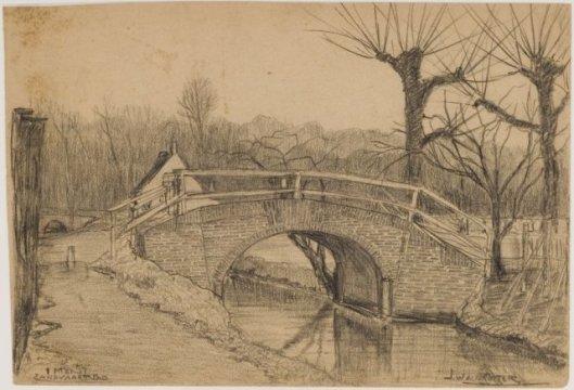 Voormalige Zandvaartbrug. Tekening door J.Waldkotter, 1937