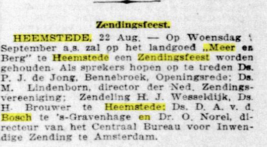 Aankondiging zendingsfeest op Meer en Berg Heemstede in 1921 (De Telegraaf, 23-8-1921