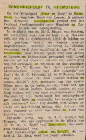 De laatste jaarlijksezendingsbijeenkomst op Meer en Berg bij het echtpaar Deutz van Lennep had plaats in 1929 (Algemeen Handelsblad, 21-5-1929)