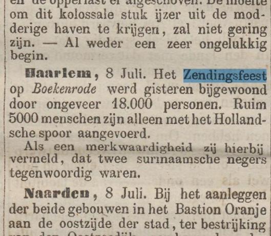 Bericht van zendingsfeest op Boekenrode (De Tijd, 10 juli 187)