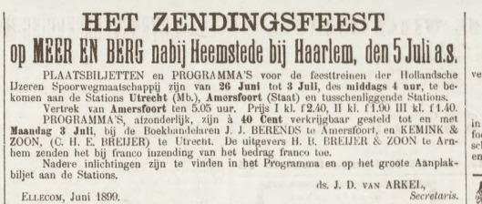 Zendingsfeest op Meer en Berg Heemstede 5 juli 1899. Bericht uit: Amersfoortsche Courant van 22 juni 1899