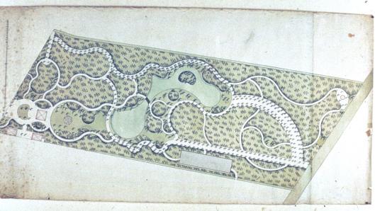 Ontwerptekening tuin Oud Berkenrode door Zocher, 1797 (Charter Room)