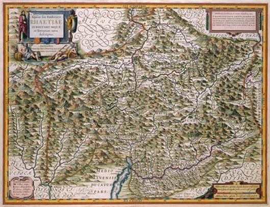 In de Blaeu-atlas aan Hadrianus Pauw, heer van Heemstede, gewijde kaart van Zwitserland (Koninklijke Bibliotheek)