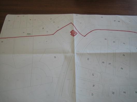 Globale kaarttekening met grens omhet huis van gemeentesecretaris Swolfs, Crayenesterlaan 61 nabij de Crayenestervaart