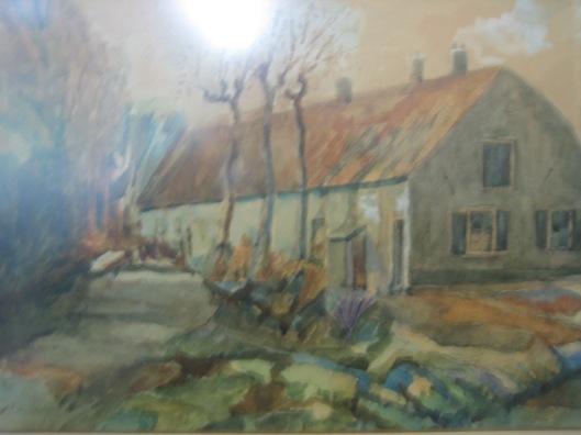 Schilderij van het Bullenhofje (dienstwoningen van Bosbeek) (HVHB)