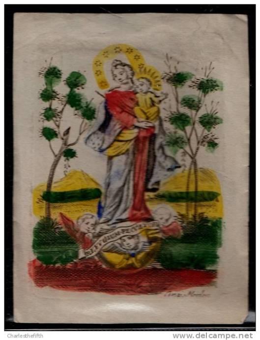 Ingekleurde gravure van Maria en kind door Abraham van Merlen (1579-1660), leerling van Adrian Collaert