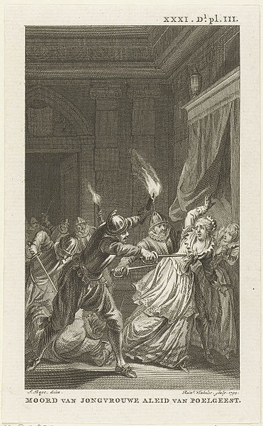 De moord op Aleid van Poelgeest op een ets van Reinier Vinkeles uit 1794