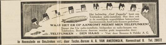 Advertentie uit Eerste Heemsteedsche Courant van 30-11-1928