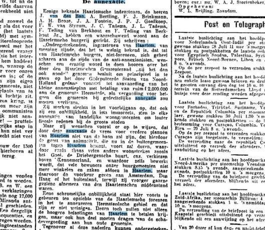 Bezwaren van haarlemse ingezetenen tegen een annexatie. Uit: Nieuwe Rotterdamsche Courant, 22-7-1926