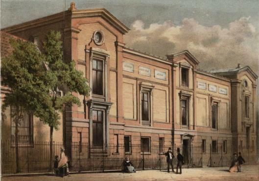 Gebouw van Artis-bibliotheek door W.Hekking jr,, gelithografeerd door Emrik en Binger