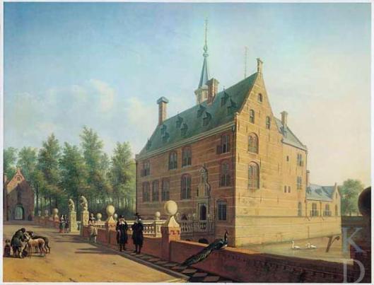 Twee witte zwanen in slotgracht van Huis te Heemstede door Berckheyde, 1667.