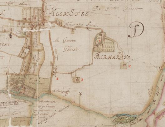 Deel van de kaart van de 'Landen toecomende de heere van Heemstede' uit 1622 door landmeter Balthasar Floriszoon van Berckenrode. Hierop zijn onder meer de kerk (kapel), het Huis te Heemstede en buitenplaats 'Bernardijte klooster afgebeeld en de poldermolen bij hofstede Sparenburg. (Noord-Hollands Archief)