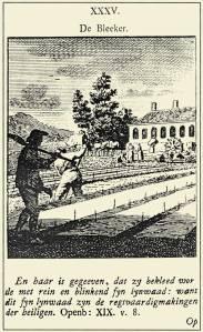 De Bleeker; door Cornelis van Noorde (1731-1795), in 'Konstige Figuuren' (met Bijbelspreuk)