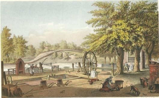 De lijnwaadblekerij 'Bleeklust' van de weduwe Louis Gunst in Heemstede, de Glip, op een tekening (tevens latere steendruk) van Joseph Charles uit 1797