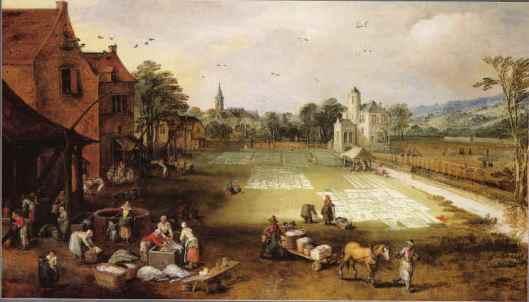 Bleekveld p[ een schilderij door Jan Brueghel (II) de Jonge (1601-1678)
