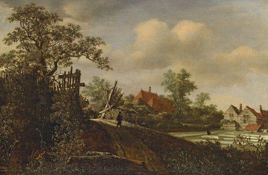 Landschap met bleekveld door Roelof Janszoon de Vries, circa 1670