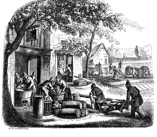 19e eeuwse gravure van een blekerij rond Haarlem
