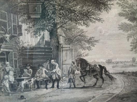 Gravure van Pelletier, gedrukt door P.Fouquet jr., van herberg het Bokje in de Hout
