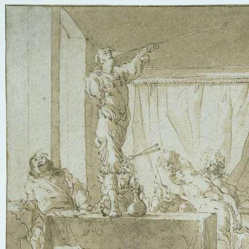 Bodeelscène. Tekening van Nicolaes Knüpfner (1613-166) door mw.A.H.Beels van Heemstede-van Loon in 1898 geschonken aan het Rijksmuseum