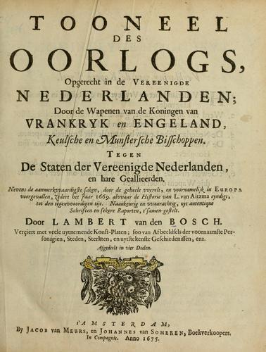 Titelblad van 'Tooneel des Oorlogs...' door Lambert van den Bosch. Amsterdam, 1675.
