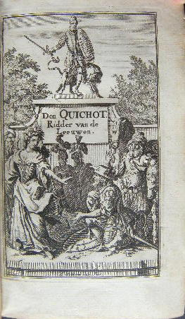 Frontispice van Don Quichotte van Cervantes in vertaling van Lambert van den Bosch