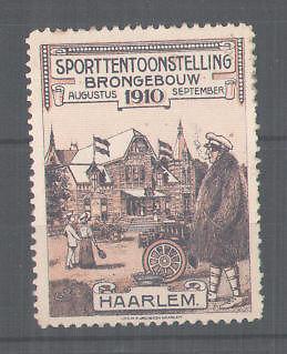 Reclamezegel voor een tentoonstelling in het Brongebouw Haarlem 1910