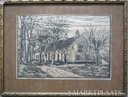 Het Bullenhofje, gebouwd onder Adrian Elias Hope, waar het dientpersoneel van Bosbeek woonde, hier op een houtgravure van F.H.van Emmerik