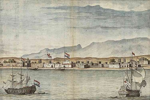 18e eeuwse aquarel met gezicht op Oman