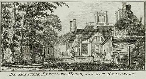 De situatie tachtig jaar eerder. Ets van Leeuw en Hooft en het Krayenest. Door Hendrik Spilman, uit: 'Aangename gezichten in de vermakelijke landsdouwen van Haarlem'(1761-1763).
