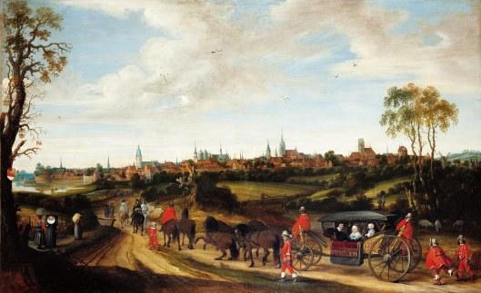 De intocht in Munster van Adriaan Pauw met zijn echtgenote Anna van Ruytenburgh en een kleindochter (vermoedelijk de toen 15-jarige Anna van zijn zoon Reinier) in een koets met 6 paarden bespannen. Schilderij van Gerard Terborch. (Stadsmuseum Münster)