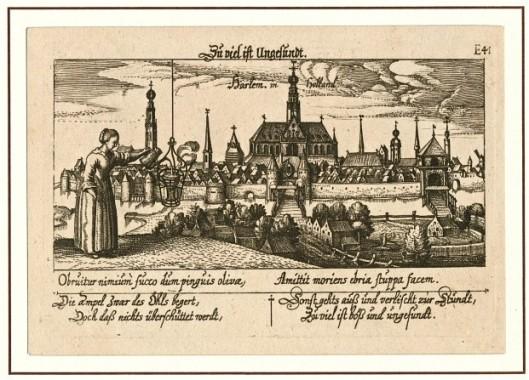 Kopergravure van gezicht op Haarlem uit het noorden door Daniel Meisner (1585-1625), uitgegeven in Neurenberg, 1678