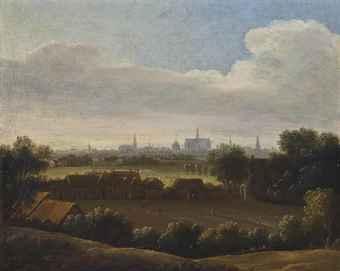'Haerlempje' Anoniem schilderij uit de kring van Jacob Isaacsz. Ruisdael in 2012 geveild bij Christie's. Blekerij met gebouwen en op de achtergrond de Oude Bavokerk in haarlem.