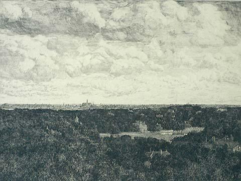 Panorama Haarlem door G.C.Haverkamp (1872-1926). Ets uit circa 1910