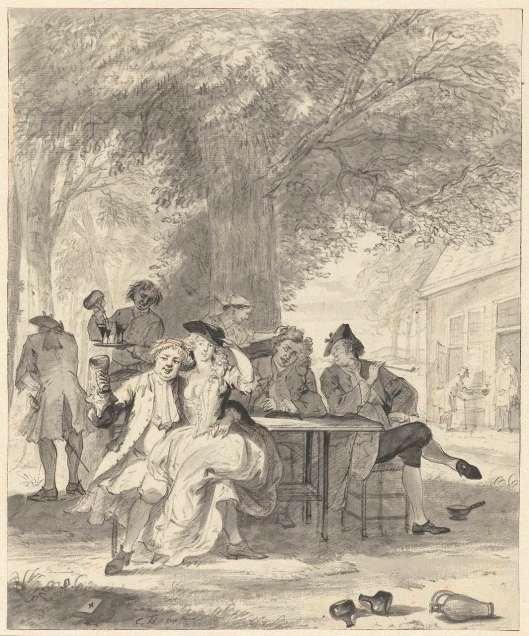 Vrolijk gezelschap onder een boom van neen herberg. Tekening door Cornelis Troost, circa 1740-1745 (Rijksmuseum)