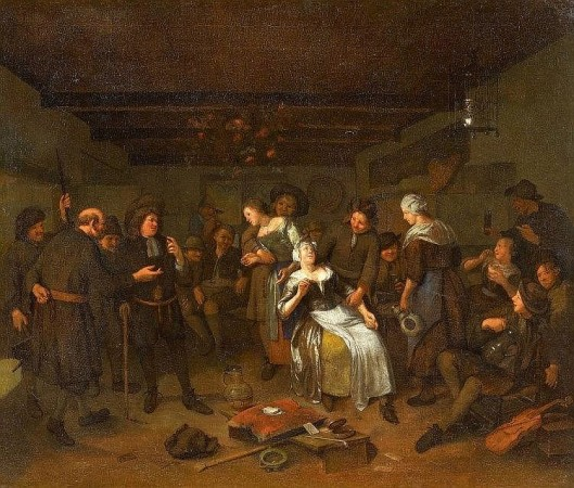 Vrolijke herbergscène in de Haarlemmerhout; door Richard Brakenburgh (1650-1702)