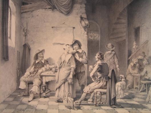 Herbergscène van soldaten die met de waardin flirten. Aquarel van Willem Pieter Hoevenaar (1808-1863)